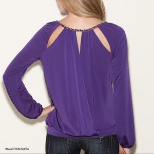 GUESS   Violet Long Sleeve Woven Neck Chain Blouse